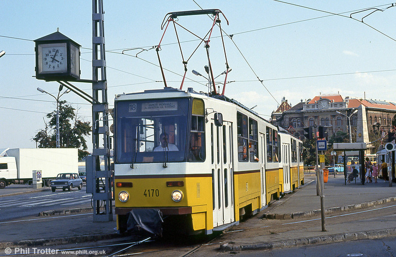 Budapest Tatra T5CS no. 4170 at Szent Gellért tér on 19th August 1992.