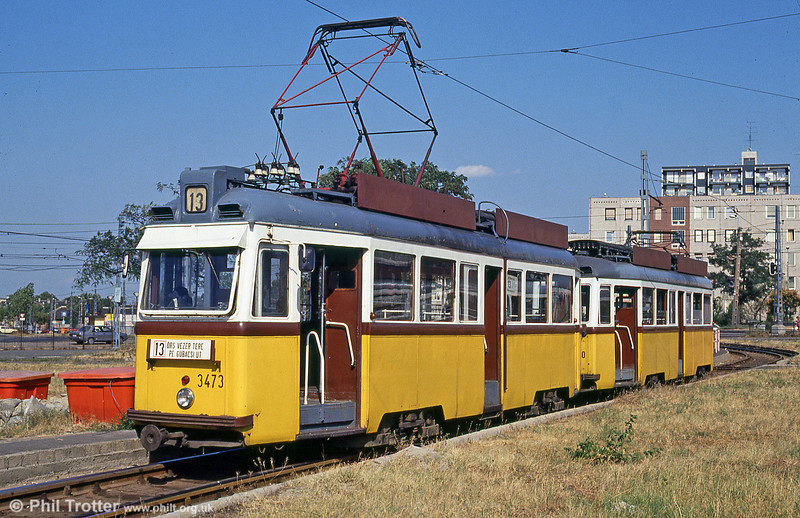 Budapest 3473, the penultimate member of the Ganz UV3s at Gubacsi Ut on 18th August 1992. (First published in Light Rail & Modern Tramway, 2/93).