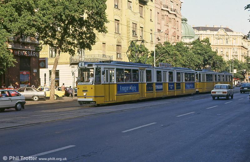 Budapest Ganz CSMG2 1421 at Szent István körút on 19th August 1992.