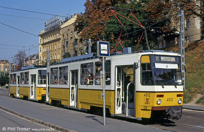 Budapest Tatra T5C5 4012 at Moszkva tér on 19th August 1992.