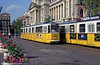 Budapest Ganz CSMG2 1314 passing the Neprajzi Museum in 'Parliament Square' on 19th August 1992.
