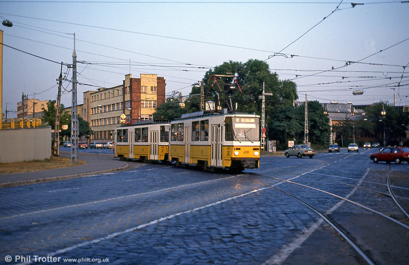 Budapest Tatra T5CS 4101 at Orczy tér on 19th August 1992.