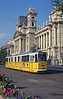 Passing the Neprajzi Museum in the Hungarian 'Parliament Square' in August 1992 is Budapest 1309, a Ganz CSM6 of 1967. (First published in Light Rail & Modern Tramway, 11/93).