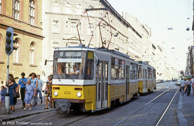 Budapest Tatra T5CS no. 4114 at Jozsef Korut on 19th August 1992.