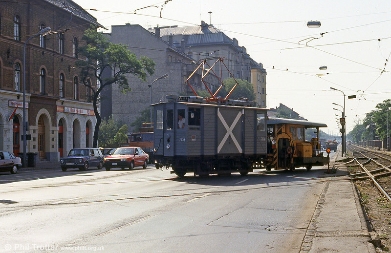 1927-built 'Muki' works car 7038 at Soroksári út on 19th August 1992. The big white X on the side was painted there because some motorists failed to see them in fog!