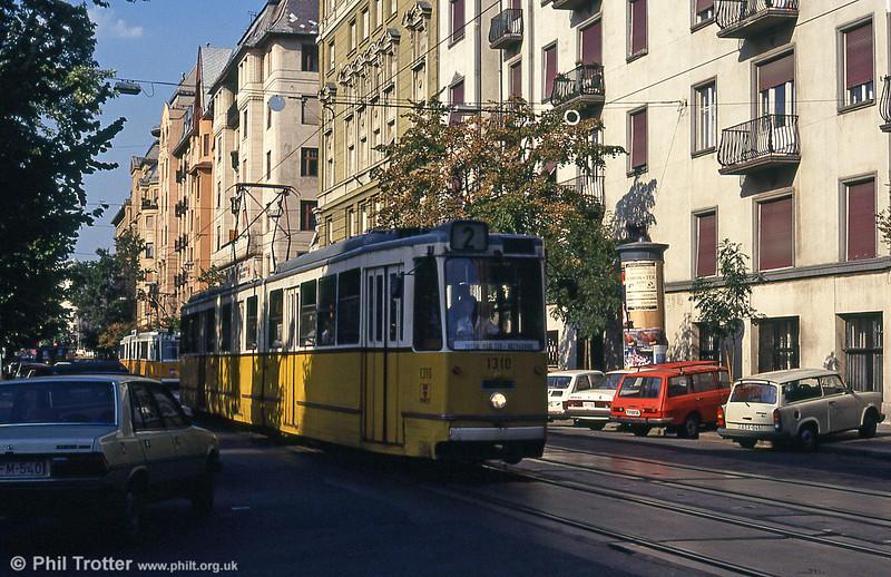 Budapest Ganz CSMG2 1310 at Balassi Bálint utca on 19th August 1992.