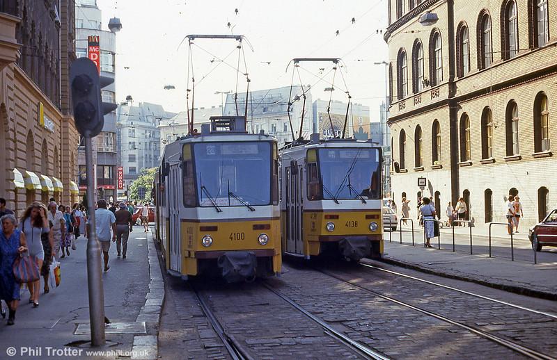 Budapest Tatra T5CS 4100 and 4138 at Jozsef Korut on 19th August 1992.