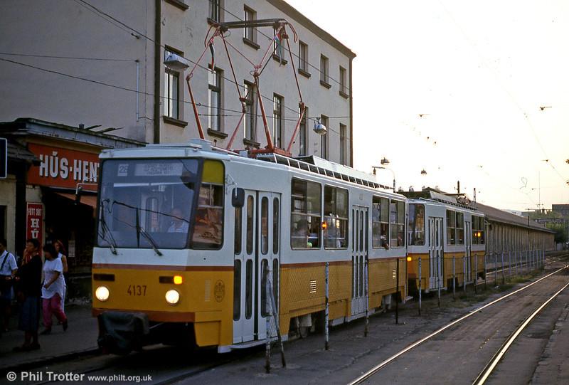 Budapest Tatra T5CS no. 4137 at Orczy tér on 19th August 1992.