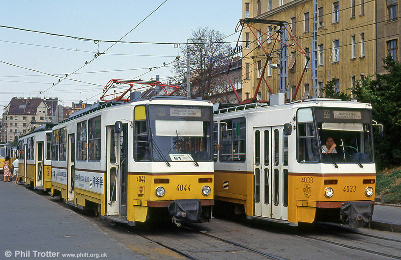 Budapest Tatra T5C5s 4044 and 4033, which were built in 1979-80, at Moszkva tér on 19th August 1992.