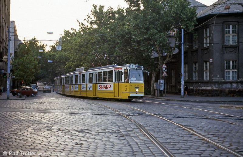 Budapest Ganz CSMG2 1469 at Ferenc körút on 19th August 1992.