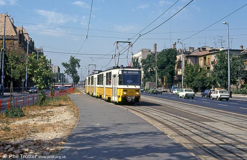 Budapest Tatra T5CS no. 4204 at Thököly út on 19th August 1992.