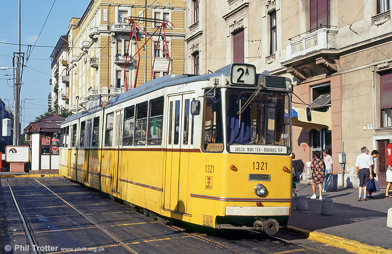 Budapest Ganz CSMG2 1321 at Jászai Mari tér on 19th August 1992.