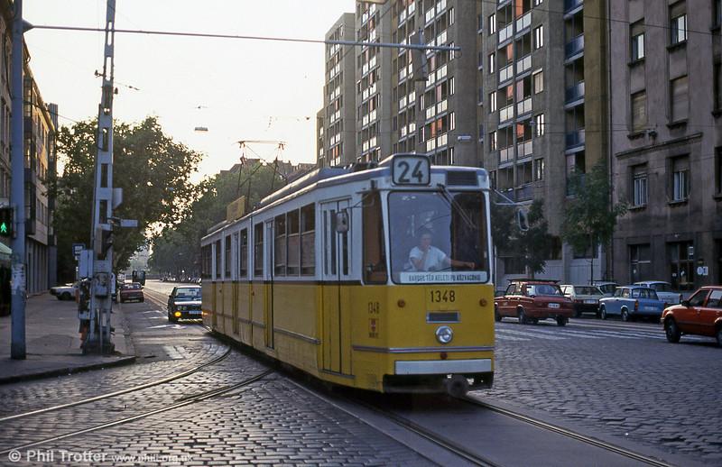 Budapest Ganz CSMG2 1348 at Ferenc körút on 19th August 1992.