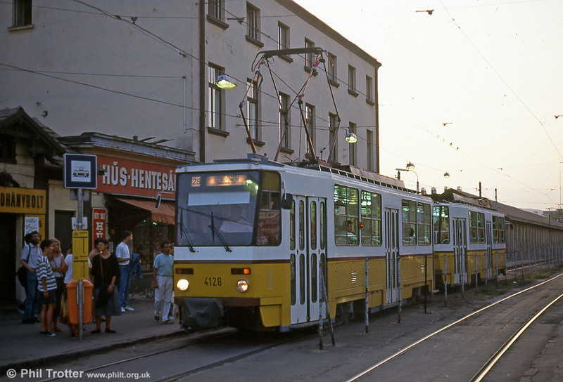 Budapest Tatra T5CS no. 4128 at Orczy tér on 19th August 1992.