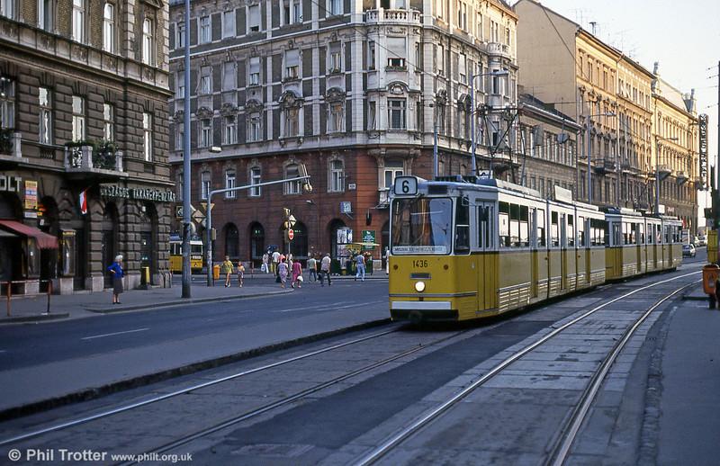 Budapest Ganz CSMG2 1436 at Erzsébet körút on 19th August 1992.