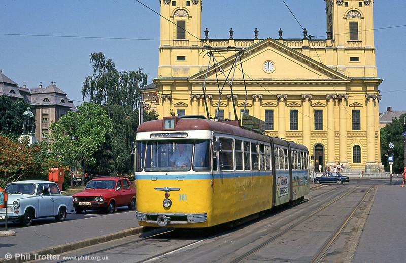 Debrecen 381 at Kossuth tér on 21st August 1992.