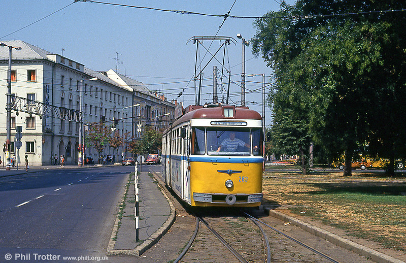 Debrecen 283 at the main railway station on 21st August 1992.