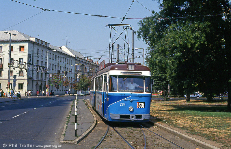 Debrecen 284 at the main railway station loop on 21st August 1992.