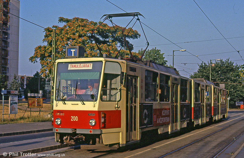 Miskolc Tatra KT8D5 200 (ex Košice) on a driver training run at  Varoskozpont on 21st August 1992.