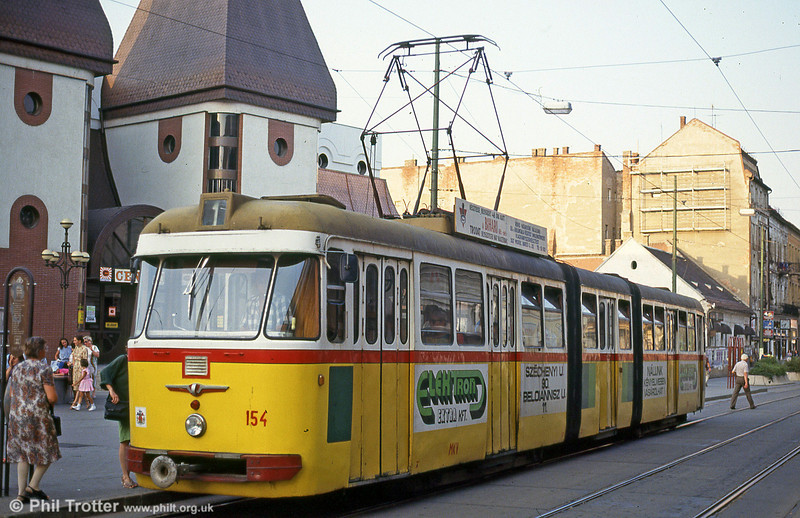 Miskolc 154 at Széchenyi István Way on 21st August 1992.