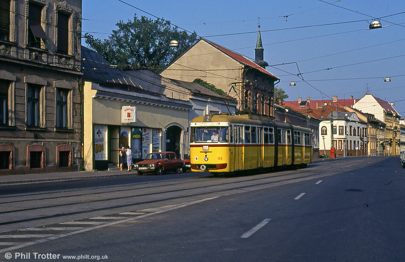 Miskolc 143 at Varoskozpont on 21st August 1992.