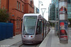 Dublin Luas Alsthom Citadis car 3016 at Store Street (Busaras) on 10th August 2005. 26 of these cars are used on the red route.