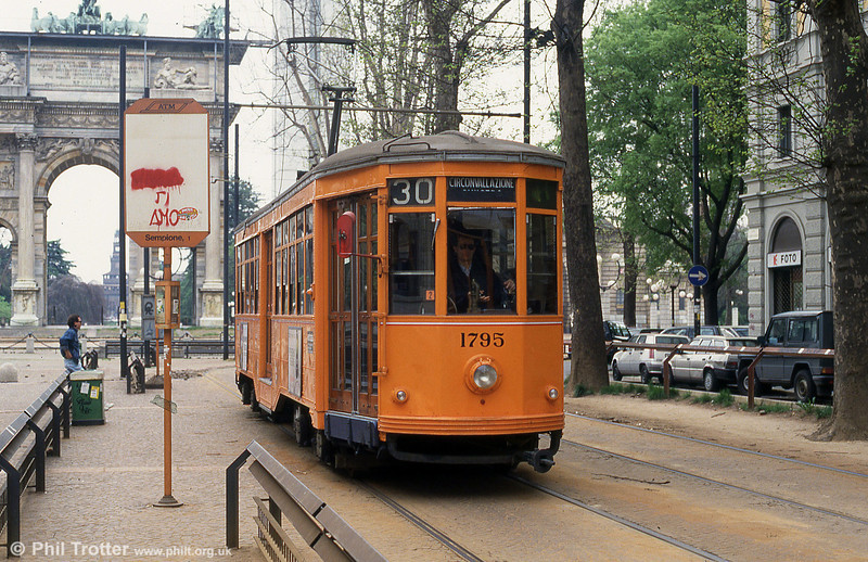 Car 1795 at Piazza Sempione on 21st April 1992. 1795 has since found a new life in San Francisco.