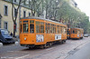 Two of Milano's once-numerous fleet of 500 Peter Witt cars, dating back to the 1930s near Leoncavallo Depot on 21st April 1992.
