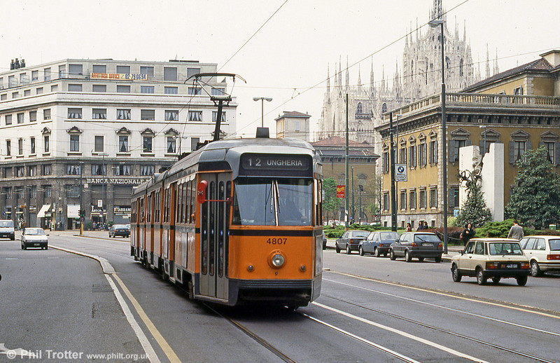 Car 4807 is seen near the Duomo on 21st April 1992. In the background is the magnificent Milan Cathedral (Duomo di Milano). Dedicated to Santa Maria Nascente (Saint Mary Nascent), it is the seat of the Archbishop of Milan. The Gothic cathedral took nearly six centuries to complete, is the fifth largest cathedral in the world and the largest in Italy.