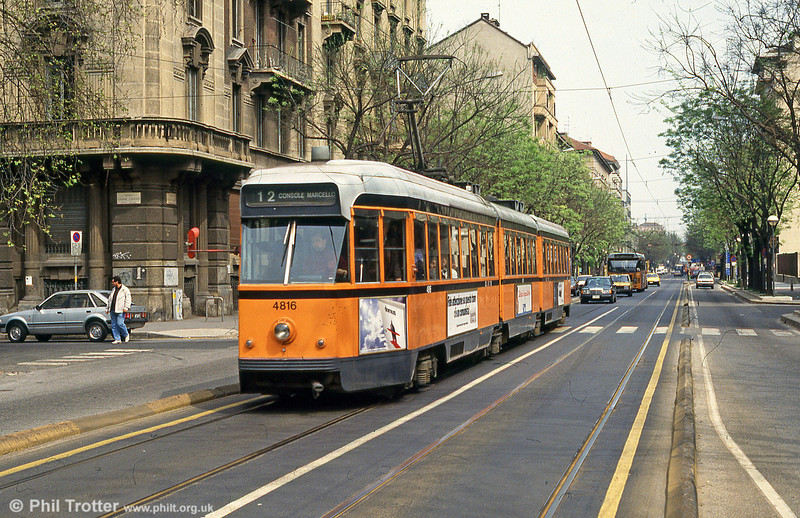 Milano 4816 at Dogana on 21st April 1992. (First published in Light Rail & Modern Tramway, 3/93).