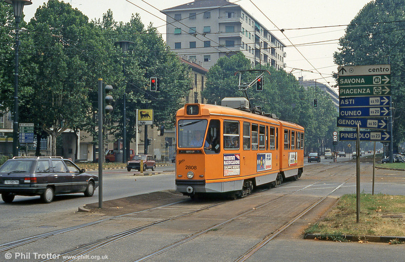 Car 2808 at Piazza Bernini on 30th July 1993.