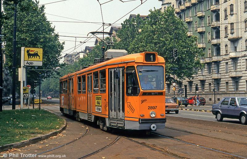 Torino car 2897 at Piazza Bernini, 30th July 1993.