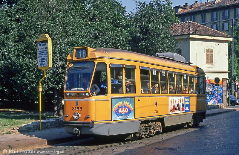 Car 3168 at Via Gioacchino Rossini on 5th September 1989.