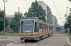 Car 7000 at Potenza on 30th July 1993. The 7000 series trams, built by Fiat in 1986, are assigned exclusively to Line 3, which was upgraded as a light rail line in the 1980s. They are 6 axle trams, with 6 doors per side. Because Line 9 was never rebuilt similarly and has since been suspended as a tram route, nearly half of these cars have been scrapped or stored awaiting scrapping.
