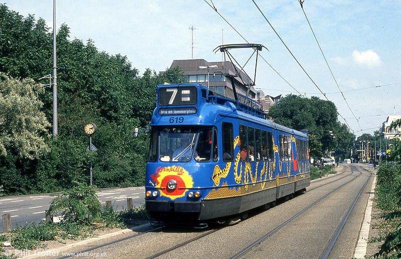 Car 619 at Frederiksplein on 8th August 1990.