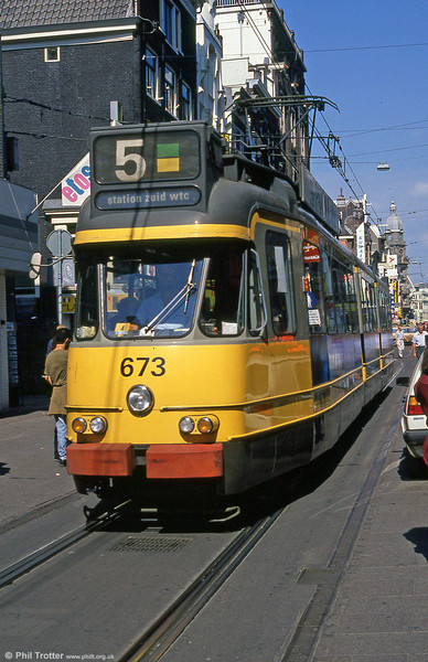 Car 673 at Leidestraat on 8th August 1990.