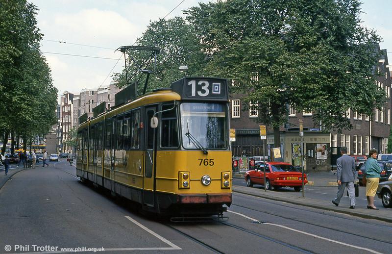Car 765 at Nieuwezijds Voorburgwal on 8th August 1990.