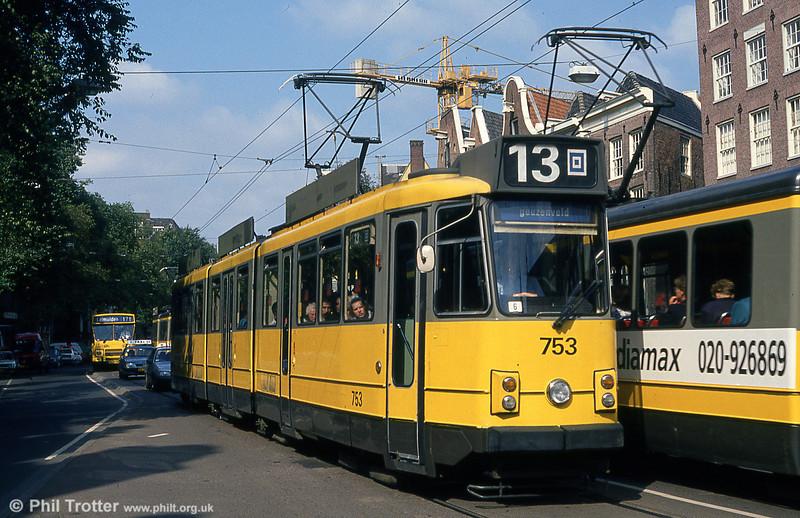 Car 753 at Nieuwezijds Voorburgwal on 8th August 1990.