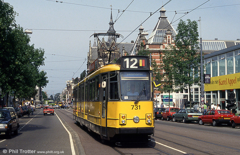 Car 731 in Museumplein on 27th August 1991.