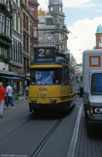 Car 696 at Leidestraat on 7th August 1990.