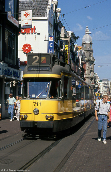 Car 711 at Leidestraat on 8th August 1990.