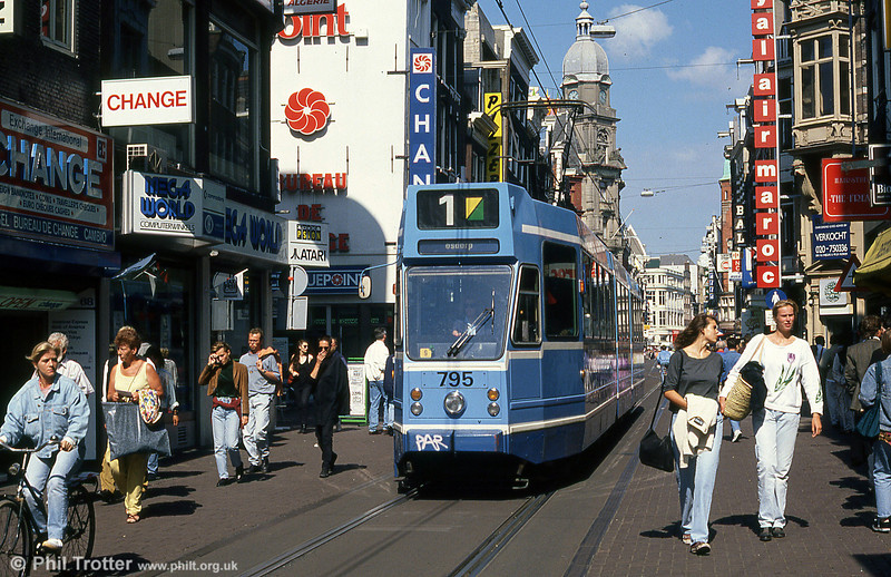 Car 795 at Leidestraat on 8th August 1990.
