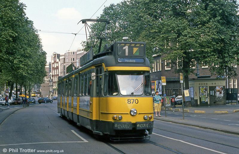 Car 870 at Nieuwezijds Voorburgwal on 8th August 1990.