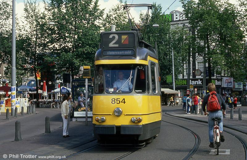 Car 854 at Leidesplein on 7th August 1990.