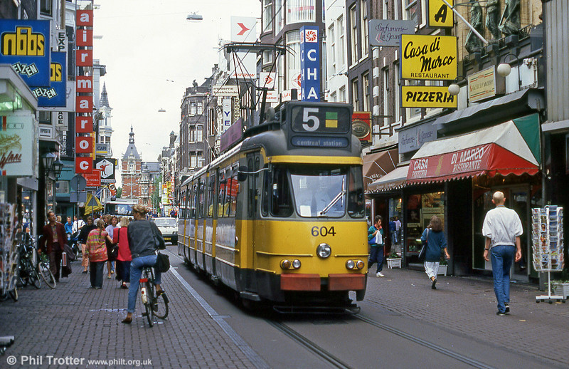 Car 604 at Leidestraat on 7th August 1990.