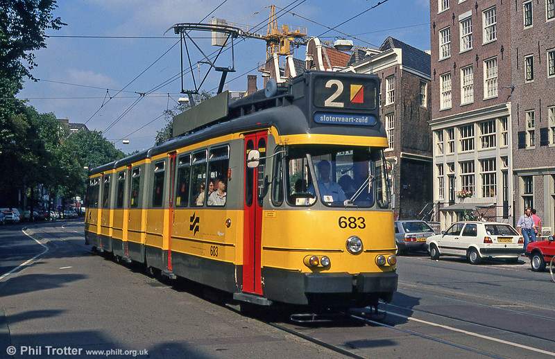 Amsterdam first-generation artic car 683 at NZ Voorburgwel on 8th August 1990.