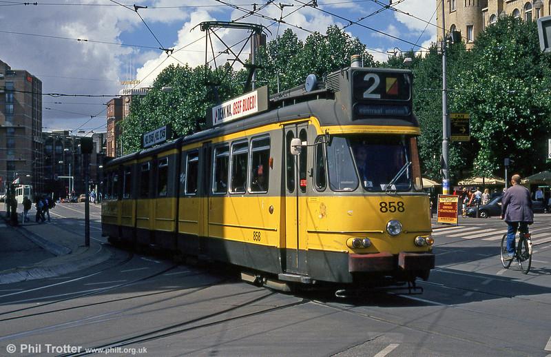 Car 858 at Leidesplein on 7th August 1990.
