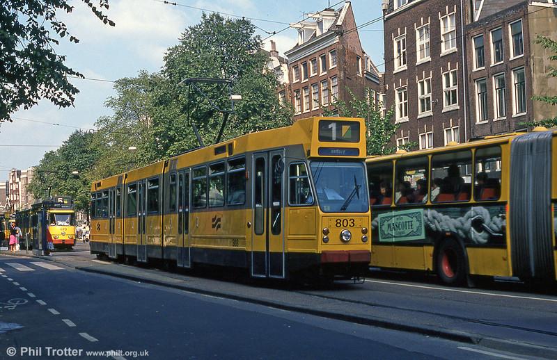 Car 803 at Nieuwezijds Voorburgwal on 8th August 1990.