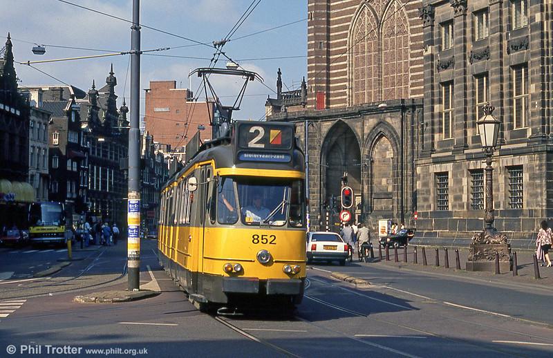 Car 852 at Nieuwezijds Voorburgwal on 8th August 1990.