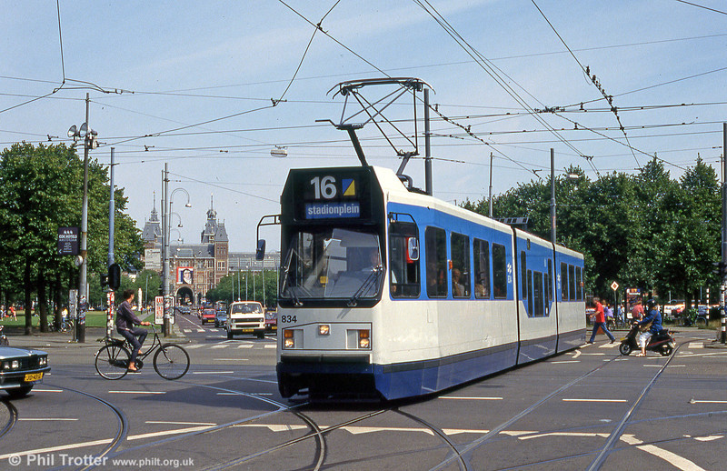 Car 834 in Museumplein on 27th August 1991.